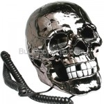 Novelty Human Head Skull Shape Telephone Silver