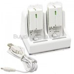 2 Ports Charge Station 2 x 2800mAh Battery for Nintendo Wii Remote