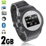 2-SIM 2GB Unlocked Watch Mobile Cell Phone Bluetooth Camera FM